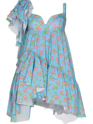 Natasha Zinko drop shoulder ruffled dress / blue floral asymmetric dresses / sweetheart neckline fashion