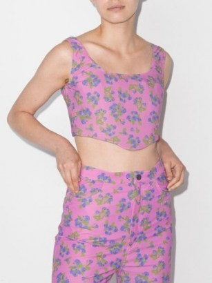 Natasha Zinko pink floral print corset top / cropped fitted bodice tops