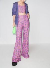 Natasha Zinko pink high waisted floral print trousers / womens retro long length flares / women's vintage style floral fashion