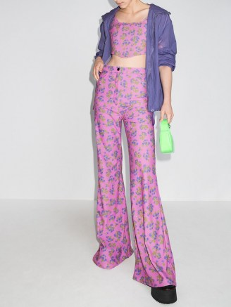 Natasha Zinko pink high waisted floral print trousers / womens retro long length flares / women's vintage style floral fashion - flipped