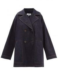 LOEWE Anagram-patch oversized navy denim trapeze coat ~ womens casual designer coats