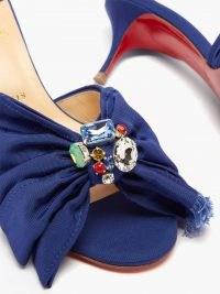 CHRISTIAN LOUBOUTIN Marie Anne 55 grosgrain mules ~ navy-blue crystal embellished mid heel mule sandals ~ MatchesFashion womens footwear