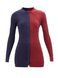 STAUD Milton colour-block ribbed-knit cardigan navy/red / womens colourblock cardigans