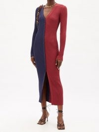 STAUD Shoko buttoned ribbed-knit dress / chic red and navy colour block dresses / women's colourblock fashion