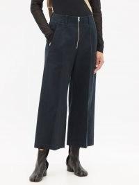 MM6 MAISON MARGIELA Zipped cotton-twill cropped wide-leg trousers ~ womens chic navy-blue crop hem trousers