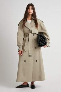 CAMILLA AND MARC Nelle Trench in Sage ~ longline self tie waist belted coats ~ women's stylish oversized macs ~ womens maxi autumn outerwear