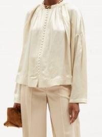 CO A-line ivory satin blouse ~ luxe blouses ~ feminine drop shoulder tops