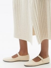 THE ROW Ava square-toe cream leather Mary Jane flats | classic single buckle strap flat heel shoes | vintage inspired Mary Janes | women's luxe footwear