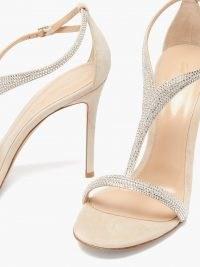 GIANVITO ROSSI Crystal-embellished 105 suede sandals / shimmering high heels