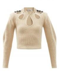 SELF-PORTRAIT Cutout cotton-blend rib-knit sweater – womens beige cut out sweaters