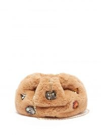 ROSANTICA Fluffy beige faux-fur cross-body bag ~ luxe crystal covered shoulder bags ~ crossbody with multicoloured crystals ~ embellished chain strap handbags