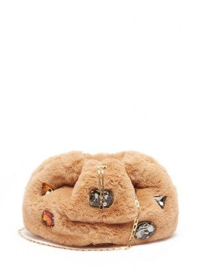 ROSANTICA Fluffy beige faux-fur cross-body bag ~ luxe crystal covered shoulder bags ~ crossbody with multicoloured crystals ~ embellished chain strap handbags - flipped