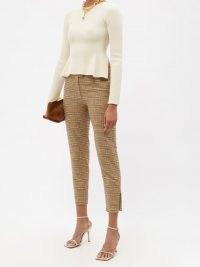 ALTUZARRA Henri check wool-blend cropped trousers / womens chic checked crop hem trousers / women's plaid print slim fit zipped hem pants