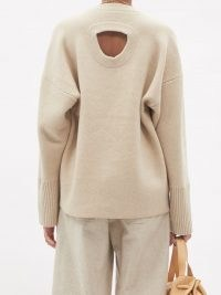 PROENZA SCHOULER Oversized cutout-back cashmere-blend sweater – women's beige oversized cut out back sweaters – womens luxury drop shoulder jumpers