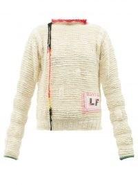 LA FETICHE Sissy logo-patch wool sweater / womens textured drop shoulder sweaters