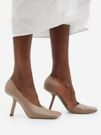BALENCIAGA Void square-toe beige leather d'Orsay pumps ~ contemporary cut away courts ~ modern angled high heel court shoes