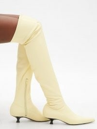 KHAITE Volos point-toe over-the-knee cream leather boots / luxe thigh high kitten heel boots
