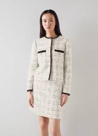 L.K. BENNETT SILVIA CREAM TWEED JACKET / womens classic checked textured fabric jackets