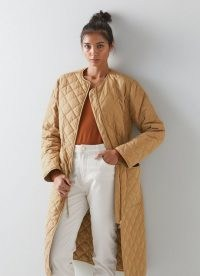 L.K. BENNETT NICOLETTE CAMEL POLYESTER COAT ~ womens casual light brown quilted coats ~ women's effortless style outerwear