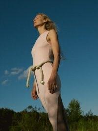 Reformation Nila Dress in Sand | sleeveless fitted high slit hem dresses