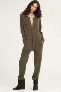 Naked Cashmere ASPEN JUMPSUIT in OLIVE ~ luxe green knitted jumpsuits ~ womens luxury knitwear ~ women's utility all-in-one