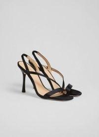 L.K. BENNETT NOVEMBER BLACK SATIN STRAPPY SANDALS ~ asymmetric strap stiletto heels ~ glamorous high heel evening slingbacks