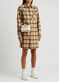 OFF-WHITE Checked flannel shirt dress / casual check print collared dresses
