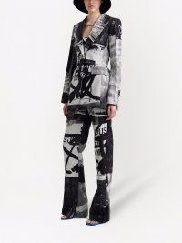 Off-White x Pablo Tomek belted hourglass blazer – women's graffiti print blazers – womens printed designer jackets