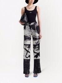 Off-White x Pablo Tomek double straight trousers – womens graffiti print trousers