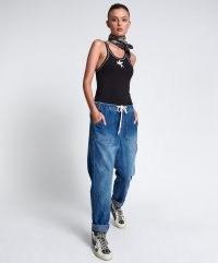 ONETEASPOON RESORT BLUE HIGH WAIST SHABBIES DRAWSTRING JEANS   womens jogger inspired jeans   women's on-trend denim fashion   one teaspoon casual clothing