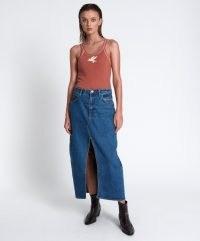 ONETEASPOON ROSEWOOD ROCKO LONG LENGTH SKIRT   front slit midaxi blue denim skirts   one teaspoon womens casual fashion   split hem clothing