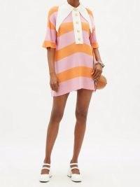 ELZINGA Exaggerated-collar striped jersey mini dress ~ womens retro dresses ~ vintage style fashion ~ oversized pointed collars ~ pink and orange stripes