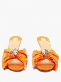 CHRISTIAN LOUBOUTIN Marie Anne 55 crystal-embellished grosgrain mules in orange
