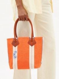 HAULIER Utility small striped canvas tote bag in orange ~ bright shopper bags