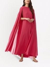 Oscar de la Renta raspberry-pink cape-sleeve tulle drape gown ~ silk sheer overlay gowns