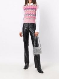 Paco Rabanne pink crew-neck intarsia-knit vest – knitted vests – sleeveless sweaters – patterned tank tops