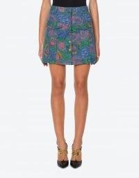 MOSCHINO PAINTED FLOWERS DENIM MINISKIRT | blue floral print mini skirts