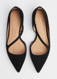 L.K. Bennett PANDORA BLACK SUEDE ASYMMETRIC STRAP FLATS | chic point toe flat shoes | pointy pumps