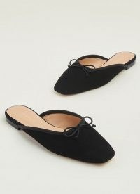 L.K. Bennett PENELOPE BLACK SUEDE FLATS | square toe flat mules