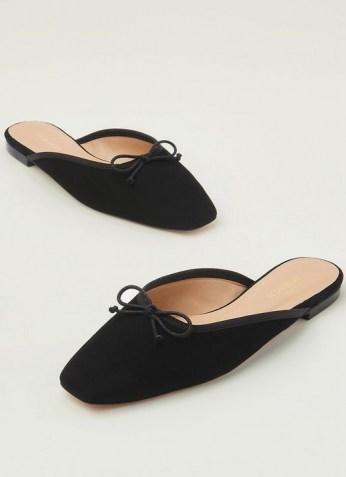L.K. Bennett PENELOPE BLACK SUEDE FLATS   square toe flat mules - flipped