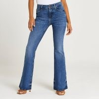 River Island Petite blue mid rise flared jeans   womens denim flares