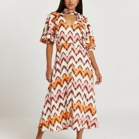 RIVER ISLAND Petite orange stripe pussybow midi dress / vintage inspired prints / retro fashion