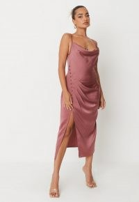 MISSGUIDED petite pink satin cowl neck button detail midaxi dress ~ cami strap dresses ~ split hem going out fashion
