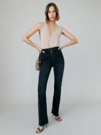 REFORMATION Peyton Zip Ultra High Rise Bootcut Jeans in Solana ~ womens high waist exposed zip denim jeans