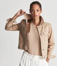 REISS PHILIPPA DENIM JACKET NEUTRAL ~ casual chic ~ stylish luxe looks ~ women's jackets