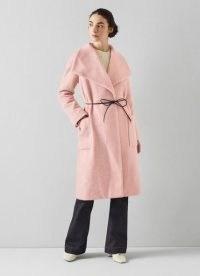L.K. BENNETT PHOEBE PINK WOOL MIX COAT ~ luxe wide collar coats ~ womens wrap style outerwear