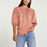 River Island Pink animal print pleated high neck top