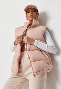 missguided pink boxy padded gilet ~ zip up gilets ~ womens fashionable sleeveless jackets ~ women's casual autumn and winter outerwear