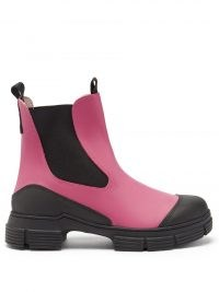 GANNI Chunky pink recycled-rubber Chelsea boots ~ bright and vivid winter footwear