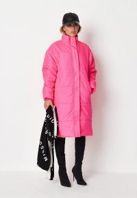 MISSGUIDED pink high neck oversized puffer coat ~ womens bright padded winter coats